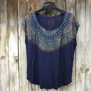 Lucky Brand Gold Blue Blouse